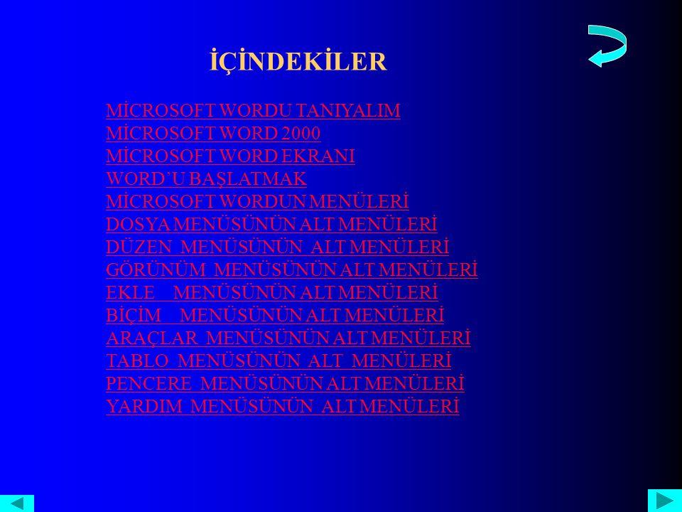 TABLO MENÜSÜNÜN ALT MENÜLERİ 1.TABLO ÇİZ 11.DÖNÜŞTÜRTABLO ÇİZ 11.DÖNÜŞTÜR 2.EKLE 12.SIRALAEKLE.SIRALA 3.SİL3.SİL 13.FORMÜLFORMÜL 4.SEÇ 4.SEÇ 14.KILAVUZ ÇİZGİ GİZLEKILAVUZ ÇİZGİ GİZLE 5.HÜCRELERİ BİRLEŞTİR 15.TABLO ÖZELLİKLERİHÜCRELERİ BİRLEŞTİR 15.TABLO ÖZELLİKLERİ 6.HÜCRELERİ BÖL 7.TABLO BÖL 8.OTOMATİK TABLO BİÇİMİOTOMATİK TABLO BİÇİMİ 9.OTOMATİK SIĞDIR 10.BAŞLIK SÜTUN YİNELEMESİ