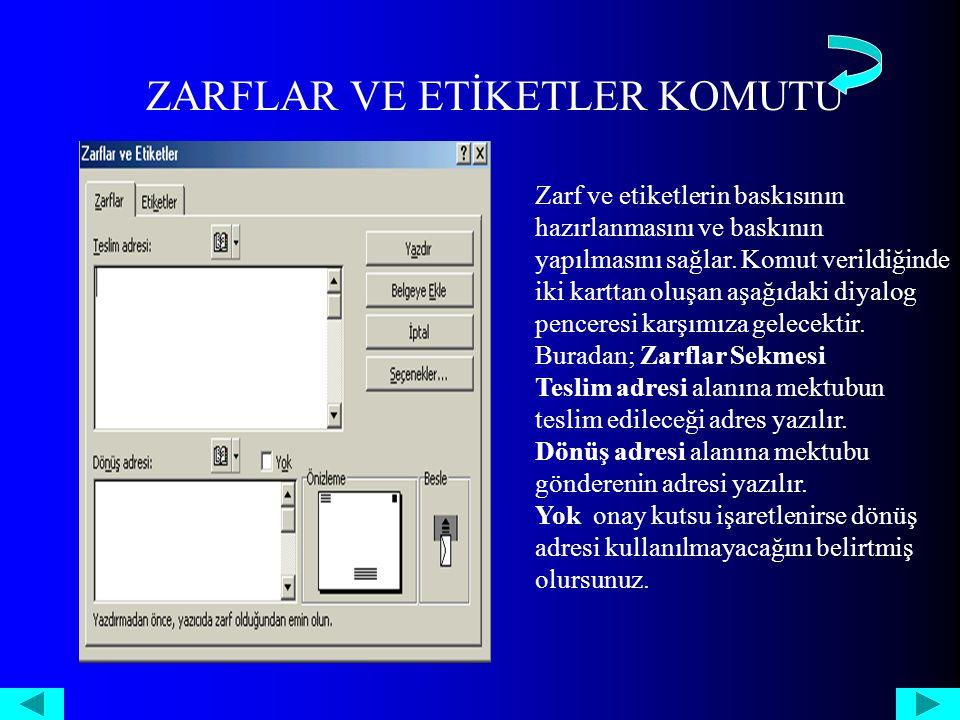 ZARFLAR VE ETİKETLER KOMUTU Zarf ve etiketlerin baskısının hazırlanmasını ve baskının yapılmasını sağlar.