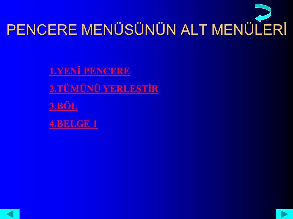 PENCERE MENÜSÜNÜN ALT MENÜLERİ 1.YENİ PENCERE 2.TÜMÜNÜ YERLEŞTİR 3.BÖL 4.BELGE 1