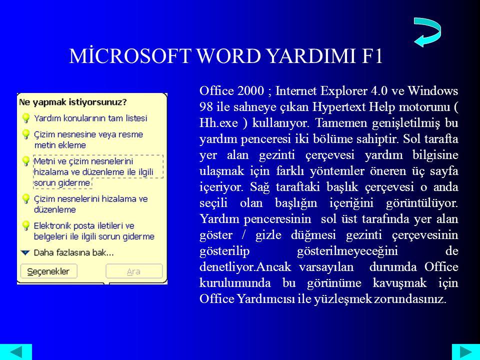 MİCROSOFT WORD YARDIMI F1 Office 2000 ; Internet Explorer 4.0 ve Windows 98 ile sahneye çıkan Hypertext Help motorunu ( Hh.exe ) kullanıyor.