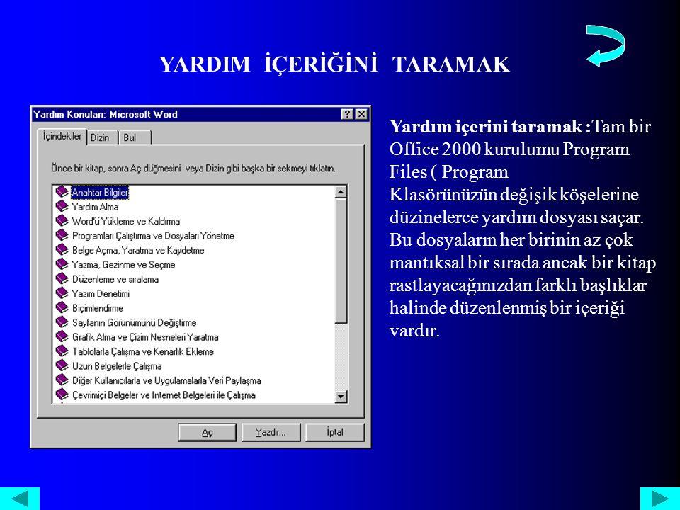 Yardım içerini taramak :Tam bir Office 2000 kurulumu Program Files ( Program Klasörünüzün değişik köşelerine düzinelerce yardım dosyası saçar.