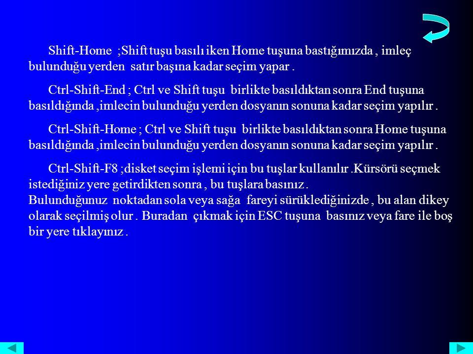 Shift-Home ;Shift tuşu basılı iken Home tuşuna bastığımızda, imleç bulunduğu yerden satır başına kadar seçim yapar.