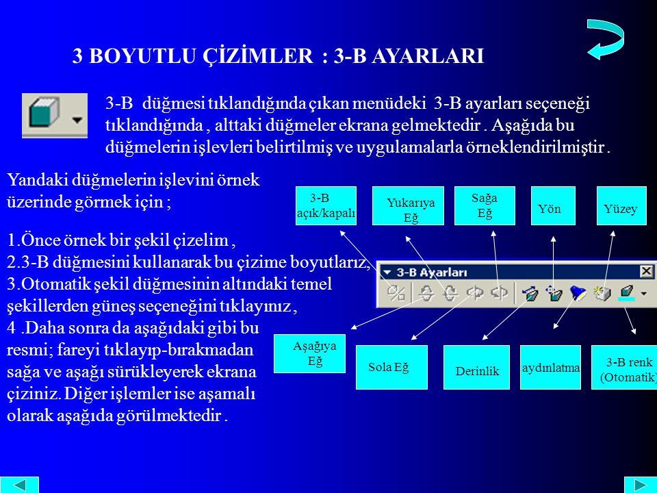 3 BOYUTLU ÇİZİMLER : 3-B AYARLARI 3-B düğmesi tıklandığında çıkan menüdeki 3-B ayarları seçeneği tıklandığında, alttaki düğmeler ekrana gelmektedir.