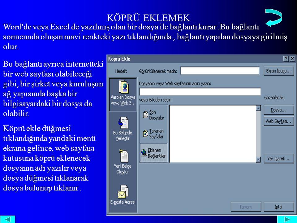 KÖPRÜ EKLEMEK Word de veya Excel de yazılmış olan bir dosya ile bağlantı kurar.Bu bağlantı sonucunda oluşan mavi renkteki yazı tıklandığında, bağlantı yapılan dosyaya girilmiş olur.