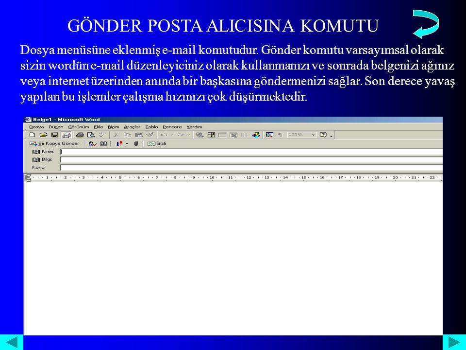 GÖNDER POSTA ALICISINA KOMUTU Dosya menüsüne eklenmiş e-mail komutudur.