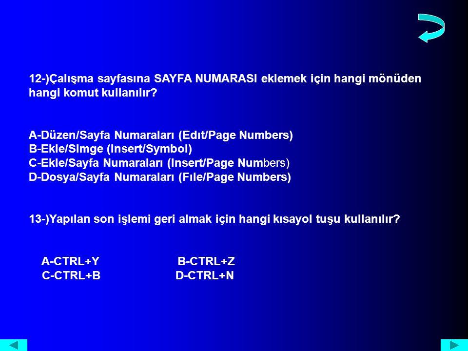 12-)Çalışma sayfasına SAYFA NUMARASI eklemek için hangi mönüden hangi komut kullanılır.