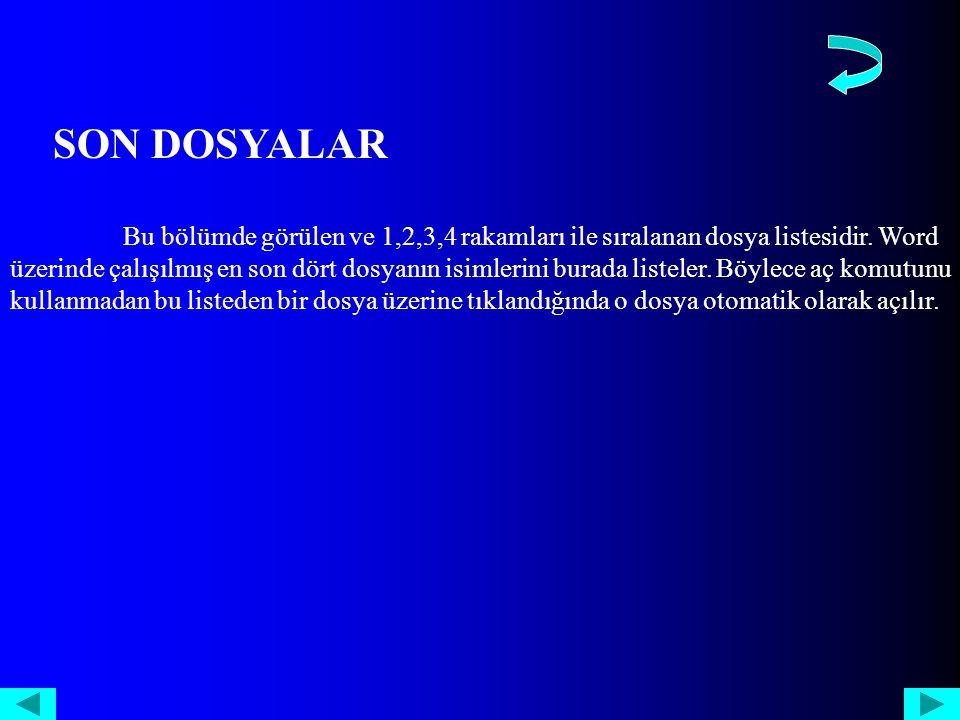 SON DOSYALAR Bu bölümde görülen ve 1,2,3,4 rakamları ile sıralanan dosya listesidir.