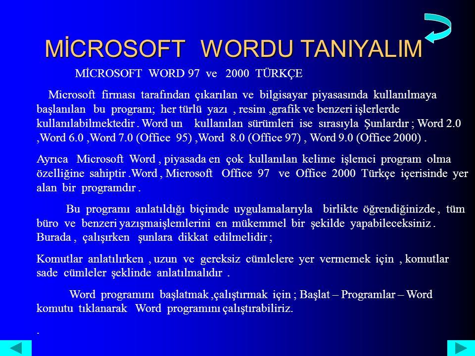 MİCROSOFT WORDU TANIYALIM MİCROSOFT WORD 97 ve 2000 TÜRKÇE Microsoft firması tarafından çıkarılan ve bilgisayar piyasasında kullanılmaya başlanılan bu program; her türlü yazı, resim,grafik ve benzeri işlerlerde kullanılabilmektedir.