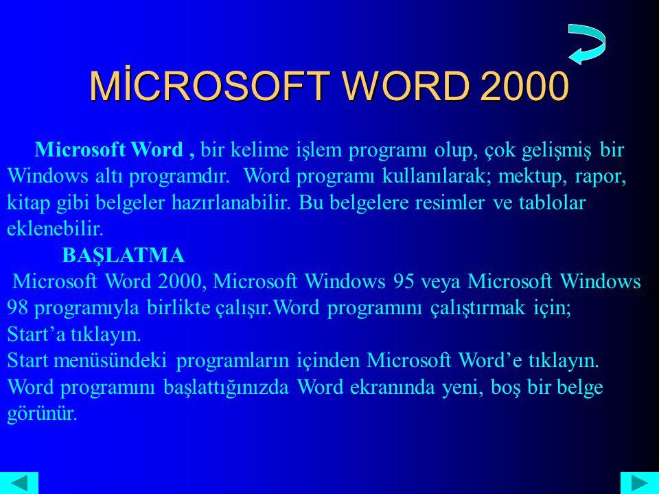 MİCROSOFT WORD 2000 Microsoft Word, bir kelime işlem programı olup, çok gelişmiş bir Windows altı programdır.