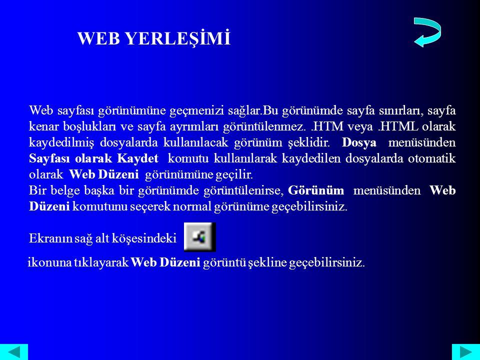 Web sayfası görünümüne geçmenizi sağlar.Bu görünümde sayfa sınırları, sayfa kenar boşlukları ve sayfa ayrımları görüntülenmez..HTM veya.HTML olarak kaydedilmiş dosyalarda kullanılacak görünüm şeklidir.