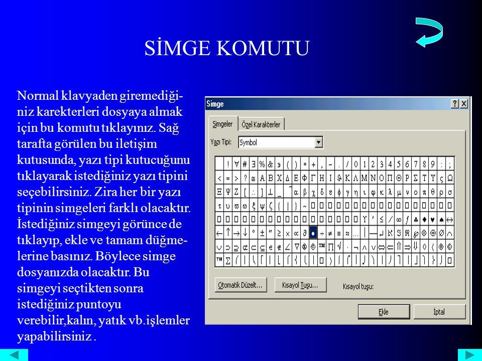 SİMGE KOMUTU Normal klavyaden giremediği- niz karekterleri dosyaya almak için bu komutu tıklayınız.