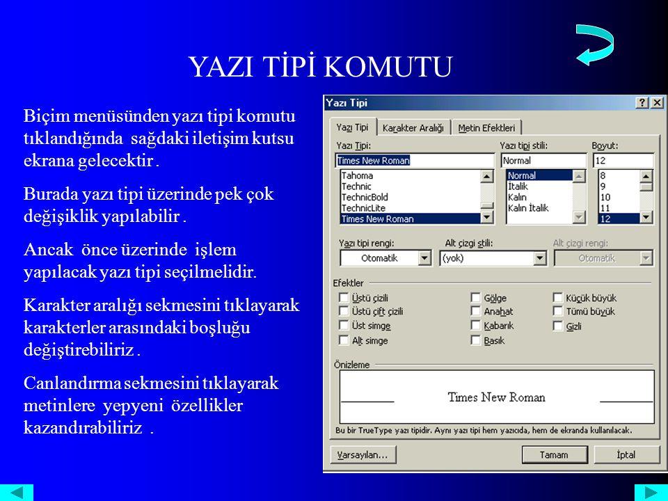YAZI TİPİ KOMUTU Biçim menüsünden yazı tipi komutu tıklandığında sağdaki iletişim kutsu ekrana gelecektir.