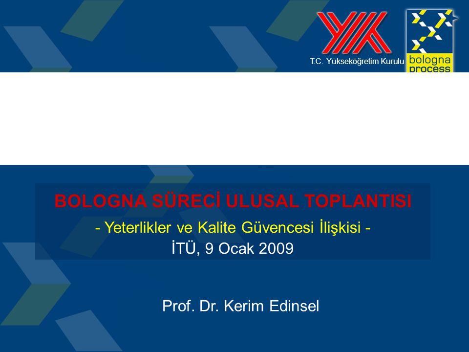 T.C. Yükseköğretim Kurulu BOLOGNA SÜRECİ ULUSAL TOPLANTISI - Yeterlikler ve Kalite Güvencesi İlişkisi - İTÜ, 9 Ocak 2009 Prof. Dr. Kerim Edinsel