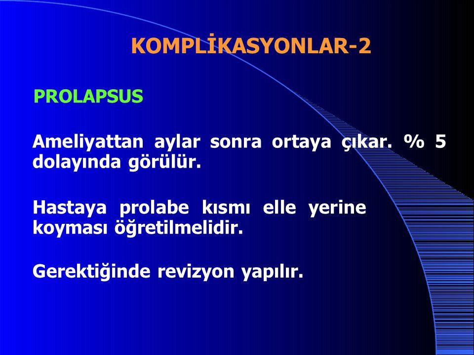 KOMPLİKASYONLAR-2 PROLAPSUS Ameliyattan aylar sonra ortaya çıkar.