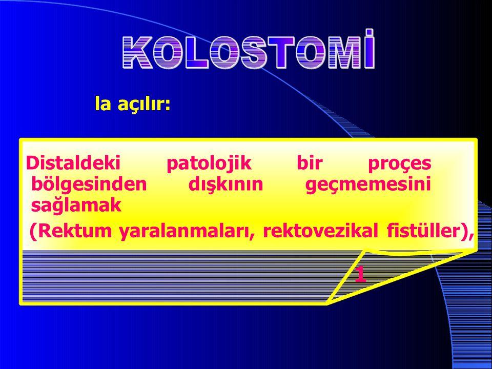 la açılır: Distaldeki patolojik bir proçes bölgesinden dışkının geçmemesini sağlamak (Rektum yaralanmaları, rektovezikal fistüller), 1