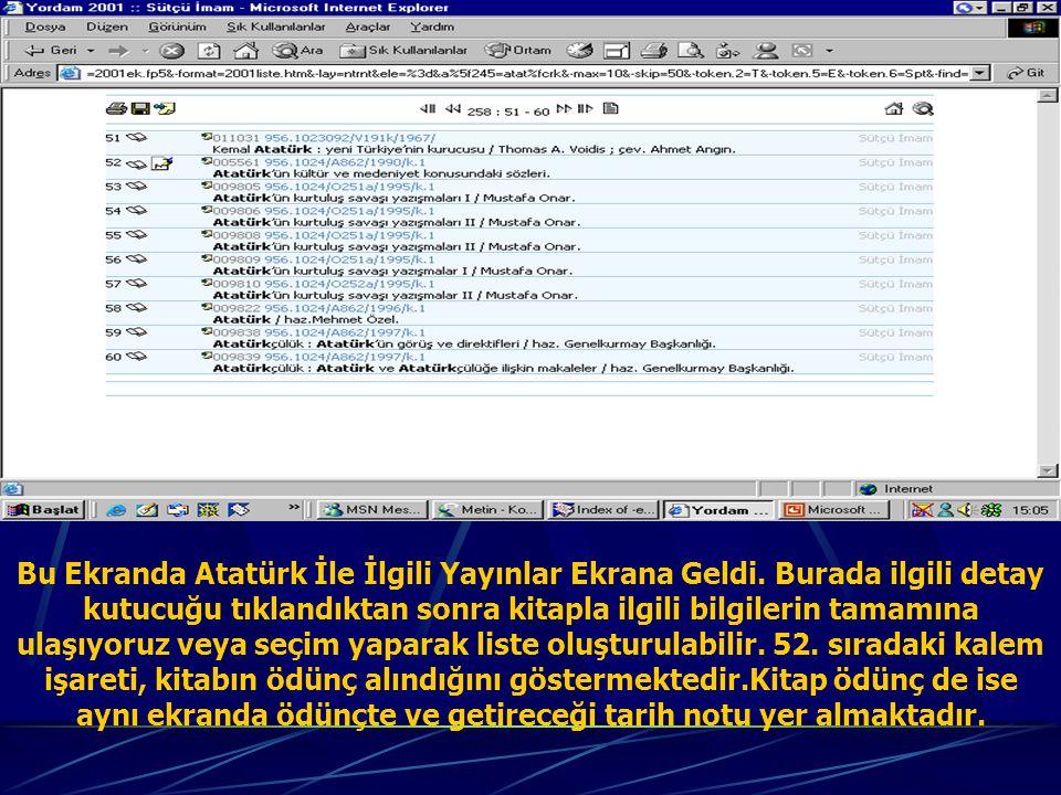 Bu Ekranda Atatürk İle İlgili Yayınlar Ekrana Geldi.