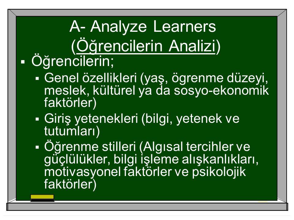 A- Analyze Learners (Öğrencilerin Analizi)  Öğrencilerin;  Genel özellikleri (yaş, ögrenme düzeyi, meslek, kültürel ya da sosyo-ekonomik faktörler)  Giriş yetenekleri (bilgi, yetenek ve tutumları)  Öğrenme stilleri (Algısal tercihler ve güçlülükler, bilgi işleme alışkanlıkları, motivasyonel faktörler ve psikolojik faktörler)
