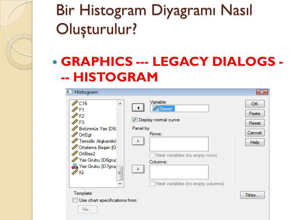 Bir Histogram Diyagramı Nasıl Oluşturulur? GRAPHICS --- LEGACY DIALOGS - -- HISTOGRAM