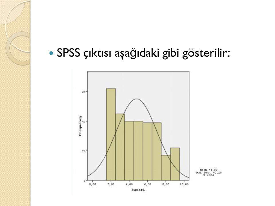 SPSS çıktısı aşa ğ ıdaki gibi gösterilir: