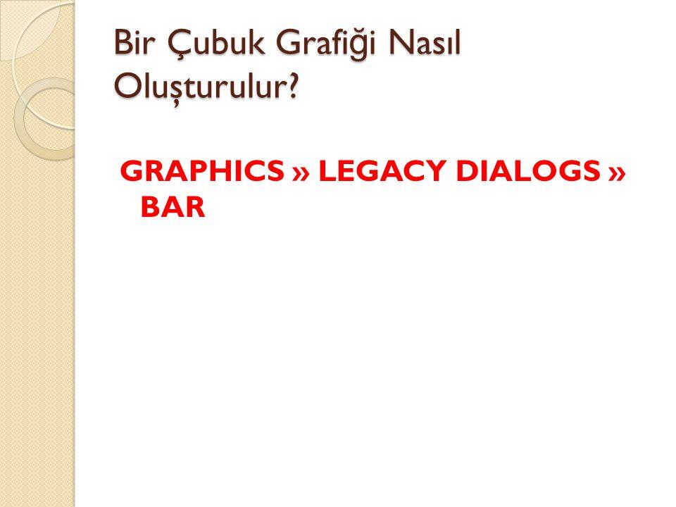 Bir Çubuk Grafi ğ i Nasıl Oluşturulur? GRAPHICS » LEGACY DIALOGS » BAR