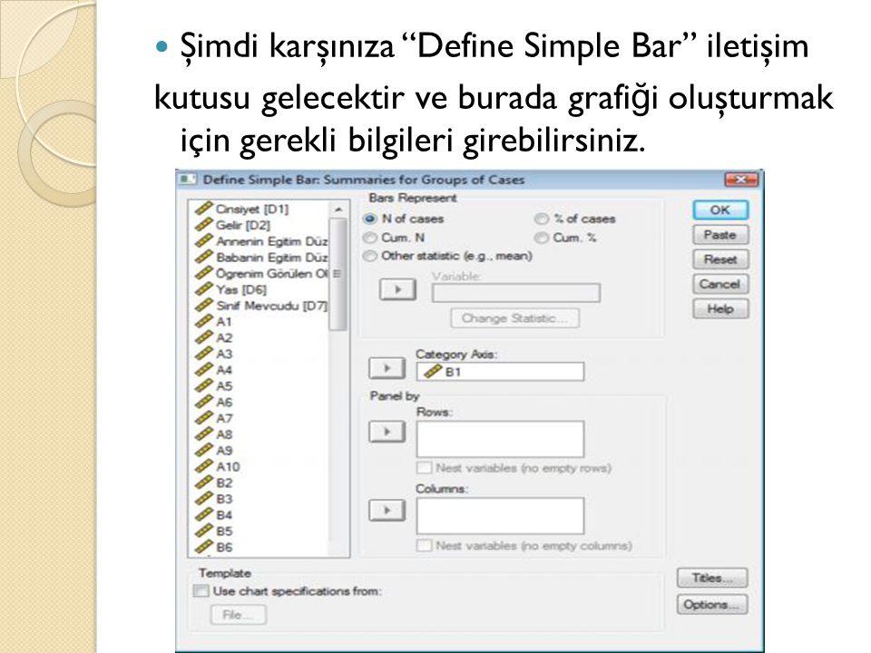 Şimdi karşınıza Define Simple Bar iletişim kutusu gelecektir ve burada grafi ğ i oluşturmak için gerekli bilgileri girebilirsiniz.
