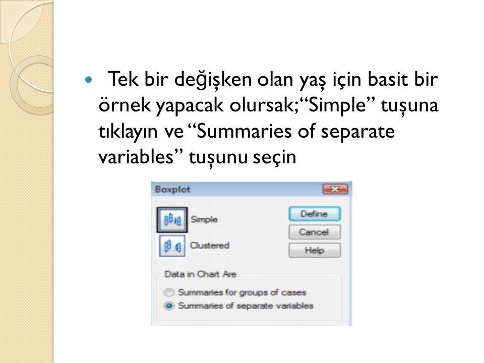 Tek bir de ğ işken olan yaş için basit bir örnek yapacak olursak; Simple tuşuna tıklayın ve Summaries of separate variables tuşunu seçin