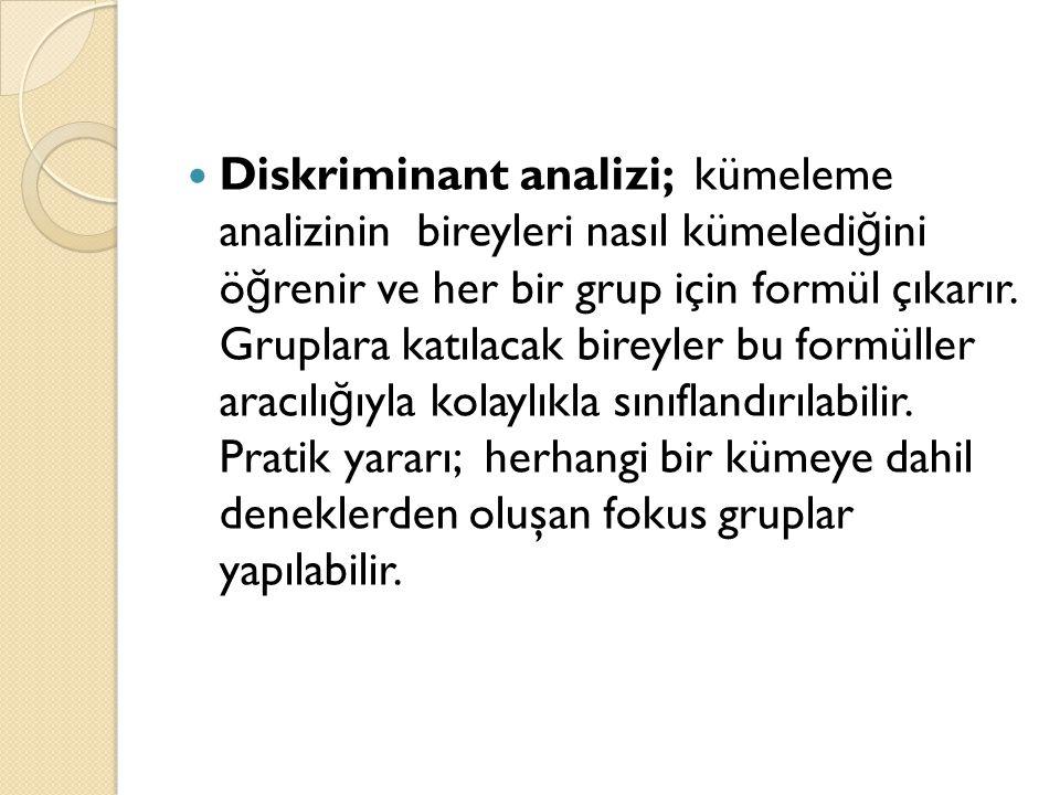 Diskriminant analizi; kümeleme analizinin bireyleri nasıl kümeledi ğ ini ö ğ renir ve her bir grup için formül çıkarır.