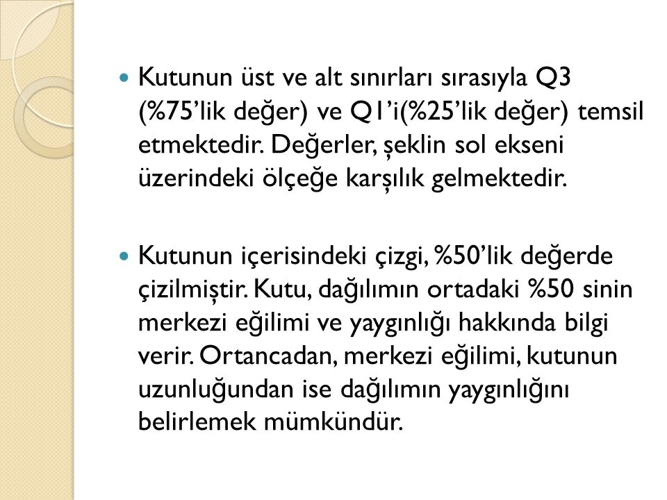 Kutunun üst ve alt sınırları sırasıyla Q3 (%75'lik de ğ er) ve Q1'i(%25'lik de ğ er) temsil etmektedir.