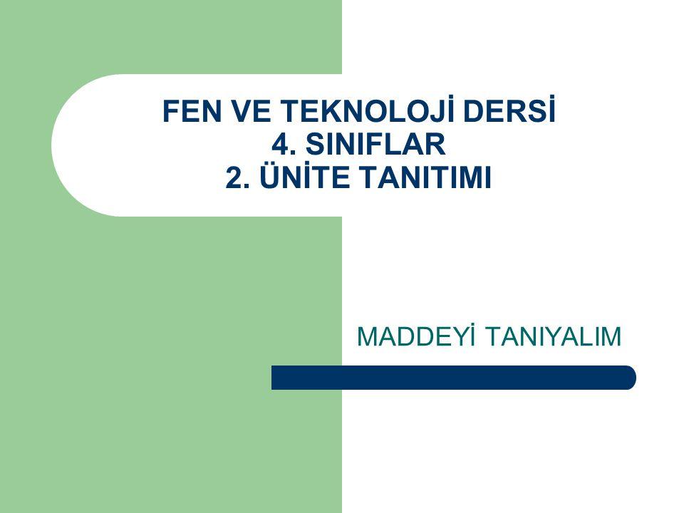 FEN VE TEKNOLOJİ DERSİ 4. SINIFLAR 2. ÜNİTE TANITIMI MADDEYİ TANIYALIM