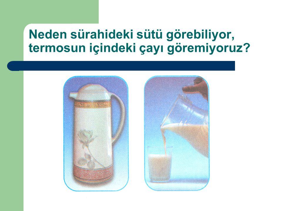 Neden sürahideki sütü görebiliyor, termosun içindeki çayı göremiyoruz?