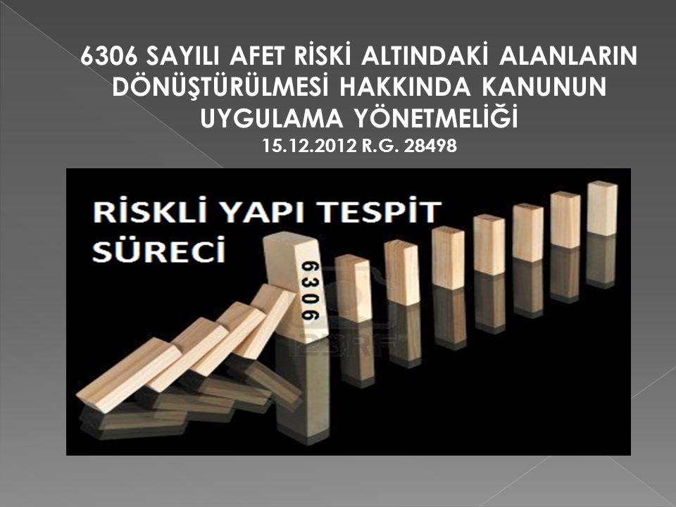 6306 SAYILI AFET RİSKİ ALTINDAKİ ALANLARIN DÖNÜŞTÜRÜLMESİ HAKKINDA KANUNUN UYGULAMA YÖNETMELİĞİ 15.12.2012 R.G.
