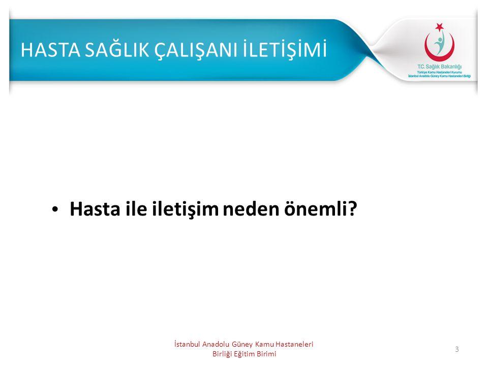 3 Hasta ile iletişim neden önemli? İstanbul Anadolu Güney Kamu Hastaneleri Birliği Eğitim Birimi