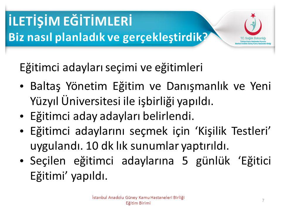 7 Eğitimci adayları seçimi ve eğitimleri Baltaş Yönetim Eğitim ve Danışmanlık ve Yeni Yüzyıl Üniversitesi ile işbirliği yapıldı. Eğitimci aday adaylar