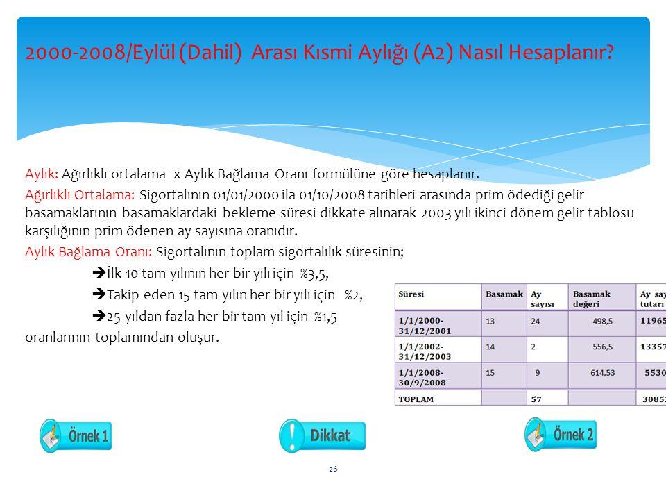 2000-2008/Eylül (Dahil) Arası Kısmi Aylığı (A2) Nasıl Hesaplanır.