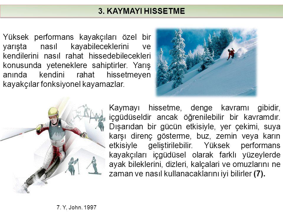 3. KAYMAYI HISSETME 7. Y, John. 1997 Yüksek performans kayakçıları özel bir yarışta nasıl kayabileceklerini ve kendilerini nasıl rahat hissedebilecekl