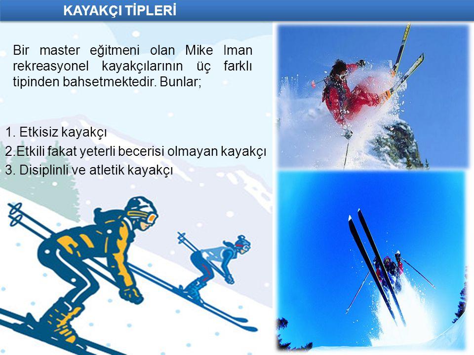 KAYAKÇI TİPLERİ 1. Etkisiz kayakçı 2.Etkili fakat yeterli becerisi olmayan kayakçı 3. Disiplinli ve atletik kayakçı Bir master eğitmeni olan Mike Iman