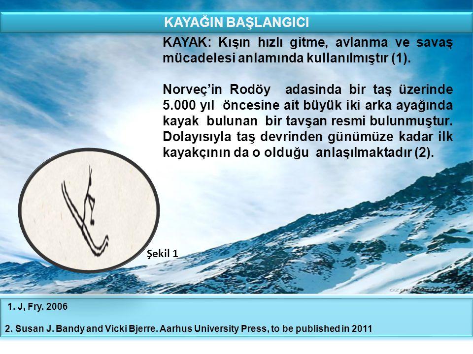 KAYAK: Kışın hızlı gitme, avlanma ve savaş mücadelesi anlamında kullanılmıştır (1). Norveç'in Rodöy adasinda bir taş üzerinde 5.000 yıl öncesine ait b