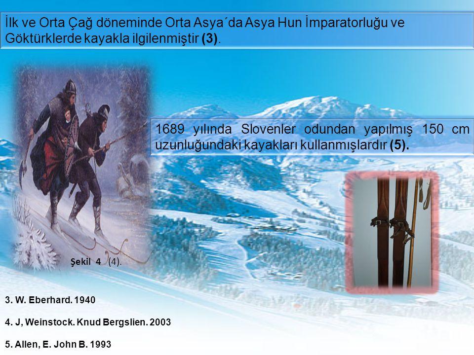 Şekil 4 (4). İlk ve Orta Çağ döneminde Orta Asya´da Asya Hun İmparatorluğu ve Göktürklerde kayakla ilgilenmiştir (3). 1689 yılında Slovenler odundan y
