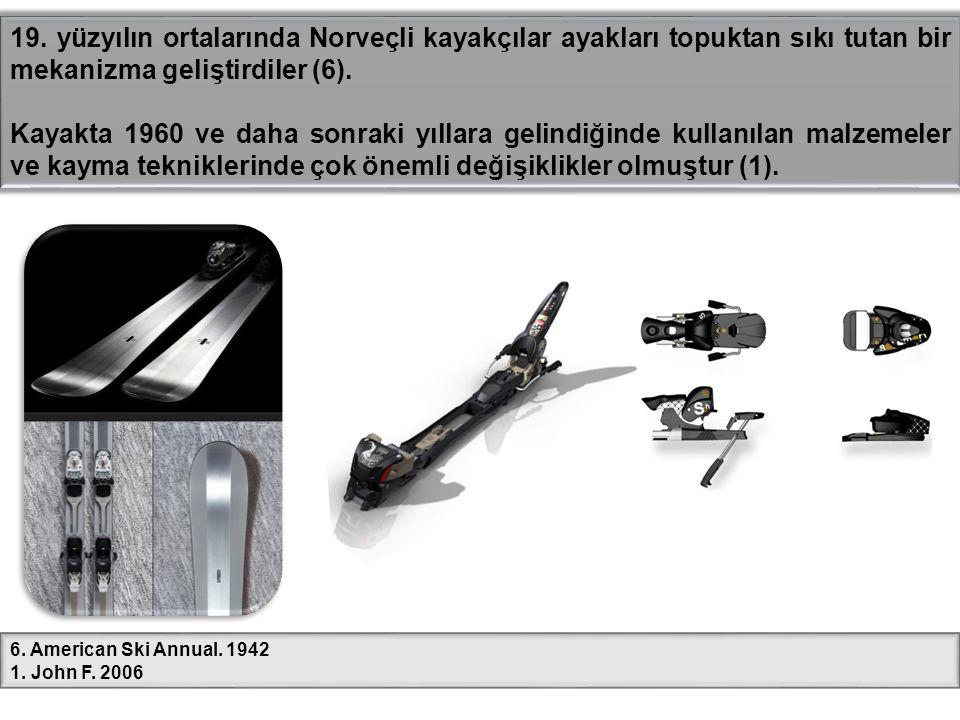 19. yüzyılın ortalarında Norveçli kayakçılar ayakları topuktan sıkı tutan bir mekanizma geliştirdiler (6). Kayakta 1960 ve daha sonraki yıllara gelind