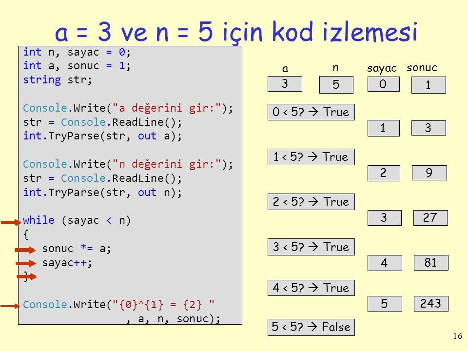 16 a = 3 ve n = 5 için kod izlemesi int n, sayac = 0; int a, sonuc = 1; string str; Console.Write(