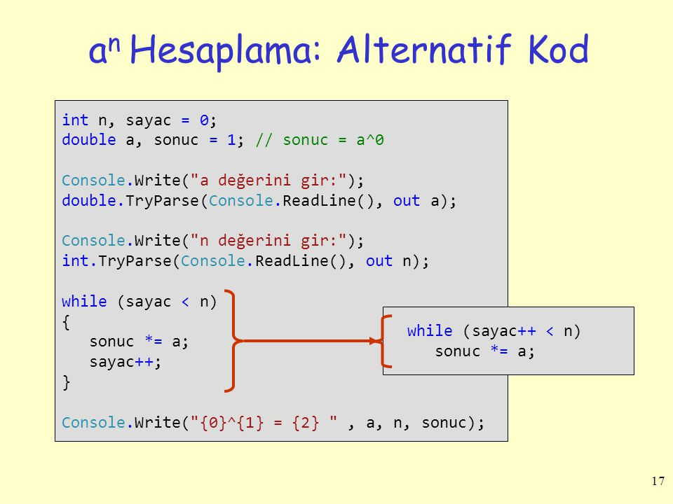 a n Hesaplama: Alternatif Kod int n, sayac = 0; double a, sonuc = 1; // sonuc = a^0 Console.Write(