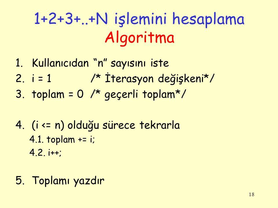 """18 1.Kullanıcıdan """"n"""" sayısını iste 2.i = 1 /* İterasyon değişkeni*/ 3.toplam = 0 /* geçerli toplam*/ 4.(i <= n) olduğu sürece tekrarla 4.1. toplam +="""