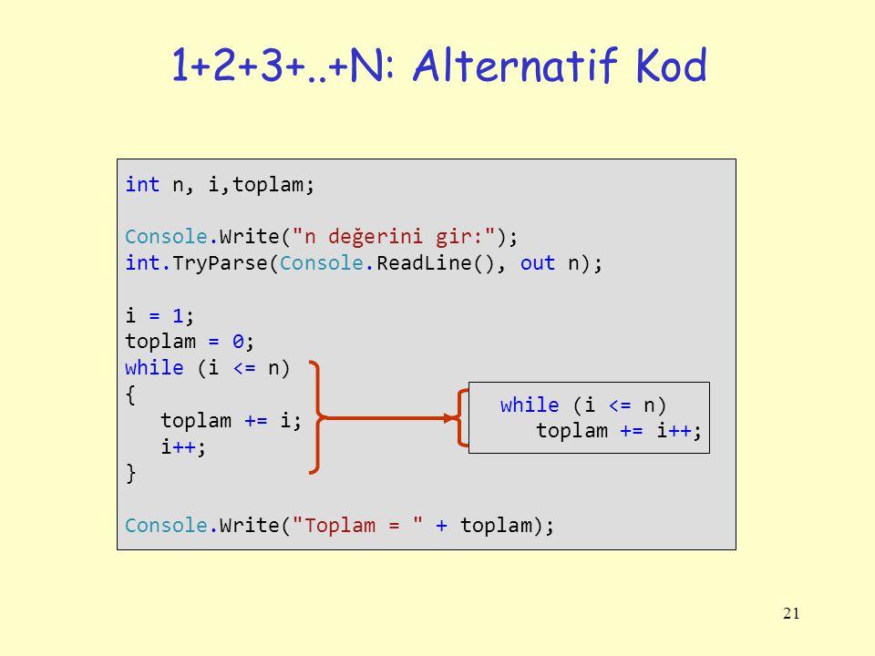 21 1+2+3+..+N: Alternatif Kod int n, i,toplam; Console.Write(