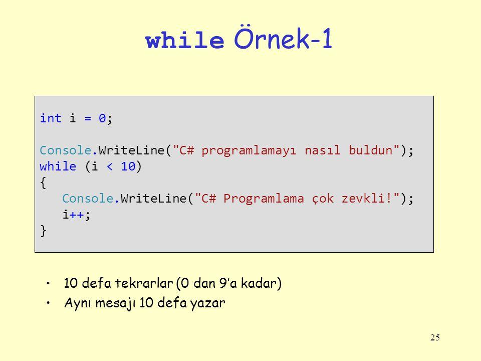 25 while Örnek-1 int i = 0; Console.WriteLine(