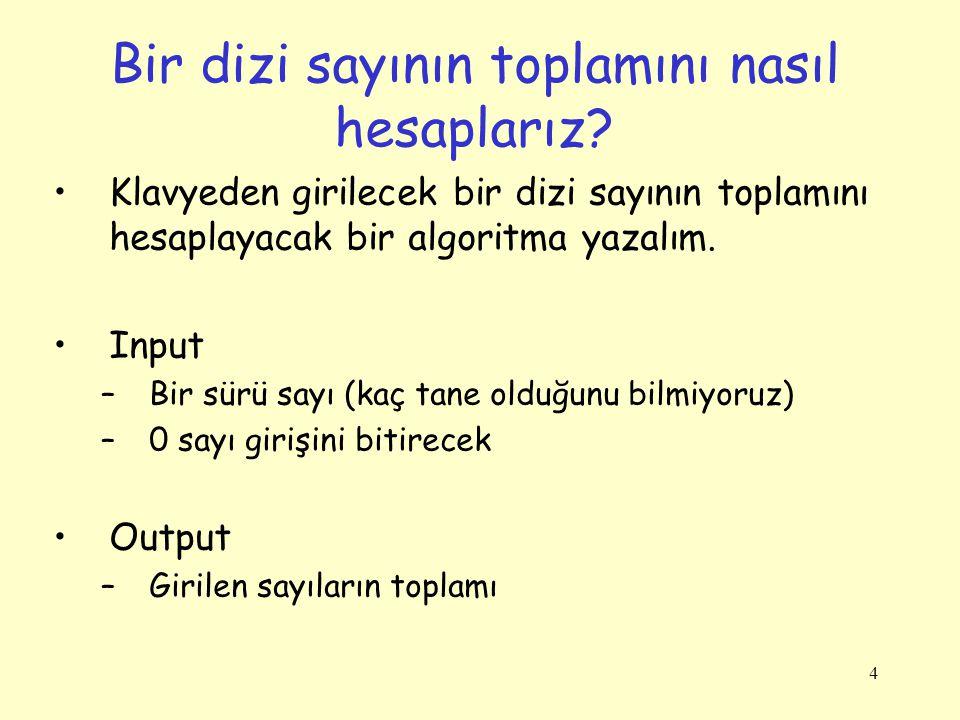 a n Hesaplamak için Kod int n, a, sayac = 0; int sonuc = 1; // sonuc = a^0 Console.Write( a değerini gir: ); int.TryParse(Console.ReadLine(),out a); Console.Write( n değerini gir: ); int.TryParse(Console.ReadLine(), out n); while (sayac < n) { sonuc *= a; sayac++; } Console.Write( {0}^{1} = {2} , a, n, sonuc); sayac = 0 Başla sonuc = 1 sayac < n.