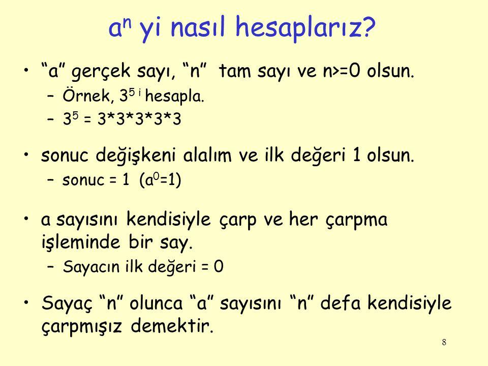 19 1+2+3+..+N Hesaplama: Akış Diyagramı ve Kod int n, i,toplam; Console.Write( n değerini gir: ); int.TryParse(Console.ReadLine(),out n); i = 1; toplam = 0; while (i <= n) { toplam += i; i++; } Console.Write( Toplam = + toplam); i = 1 Başla toplam = 0 i <= n.