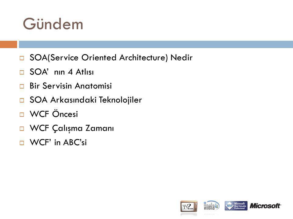 Gündem  SOA(Service Oriented Architecture) Nedir  SOA' nın 4 Atlısı  Bir Servisin Anatomisi  SOA Arkasındaki Teknolojiler  WCF Öncesi  WCF Çalış