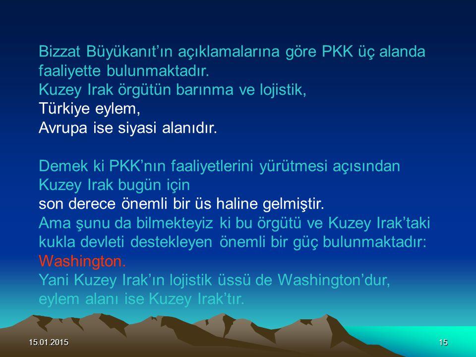 15.01.201515 Bizzat Büyükanıt'ın açıklamalarına göre PKK üç alanda faaliyette bulunmaktadır. Kuzey Irak örgütün barınma ve lojistik, Türkiye eylem, Av