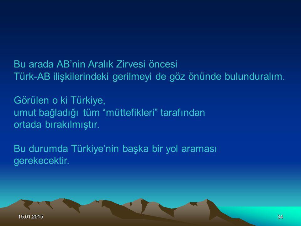 15.01.201534 Bu arada AB'nin Aralık Zirvesi öncesi Türk-AB ilişkilerindeki gerilmeyi de göz önünde bulunduralım. Görülen o ki Türkiye, umut bağladığı