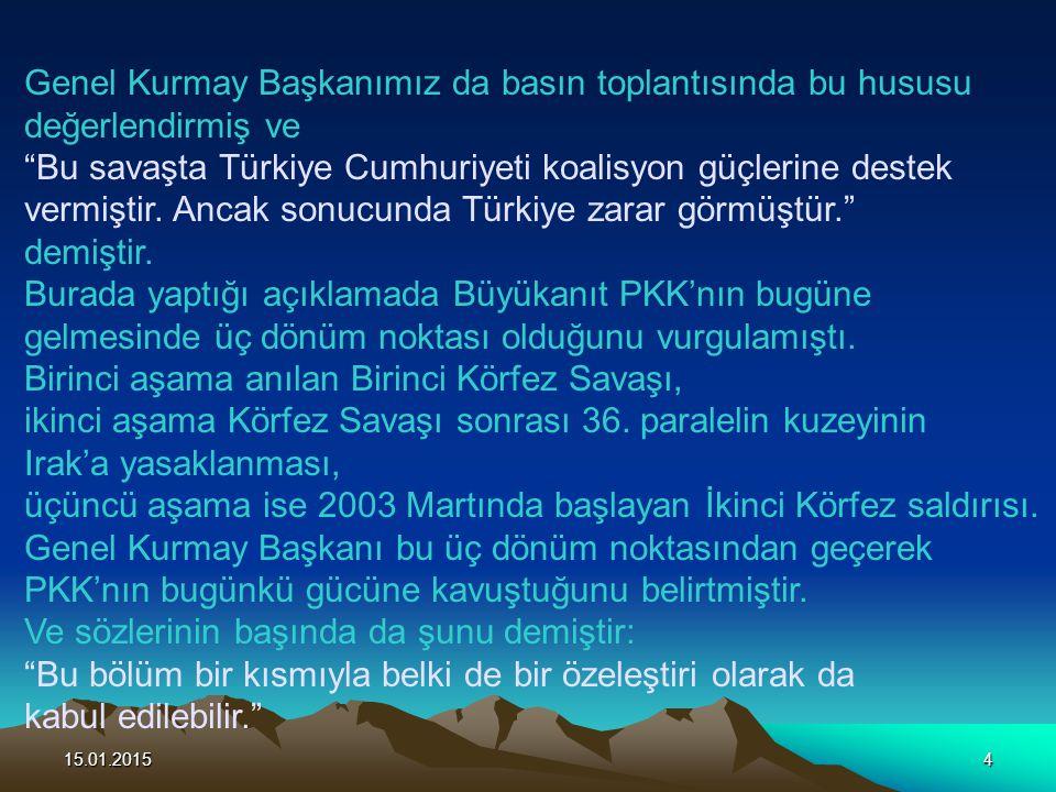 15.01.201515 Bizzat Büyükanıt'ın açıklamalarına göre PKK üç alanda faaliyette bulunmaktadır.